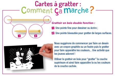 Set de 5 cartes à gratter face noire fond blanc + 5 grattoirs - Cartes à gratter, cartes à sabler – 10doigts.fr