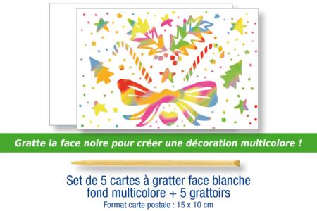 Cartes à gratter  blanches fond multicolore + grattoirs - 5 cartes - Cartes à gratter – 10doigts.fr