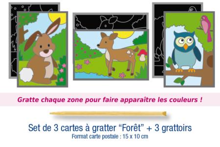 """Cartes à gratter """"Forêt"""" + grattoirs - 3 cartes - Cartes à gratter – 10doigts.fr"""