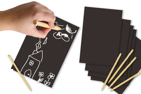 Cartes à gratter Noir & blanc - 5 cartes - Carte à gratter – 10doigts.fr