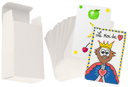 Cartes à jouer et sa boite à customiser - 60 cartes - Support blanc – 10doigts.fr