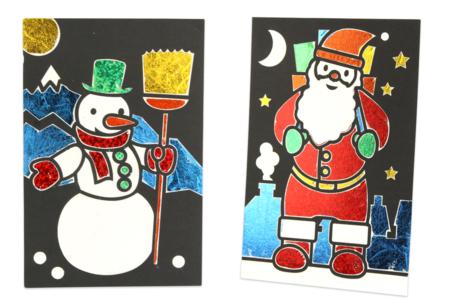 Cartes de Noël à métalliser - 3 motifs assortis - Cartes de vœux – 10doigts.fr