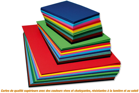 Cartes fortes 300 gr/m², assortiment de couleurs - Carterie – 10doigts.fr