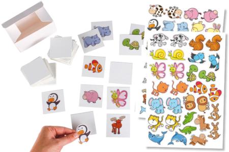 Jeu memory à customiser - 60 cartes + boite - Stickers Fantaisies – 10doigts.fr