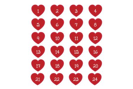 Stickers chiffres cœurs - 24 pièces - Gommettes Alphabet, messages – 10doigts.fr