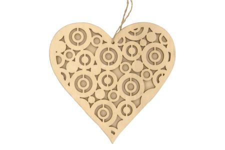 Coeur structuré en bois naturel avec cordon - Noël – 10doigts.fr