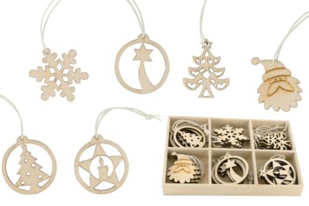 Coffret de motifs de Noël en bois naturel - Set de 18 - Motifs peint – 10doigts.fr
