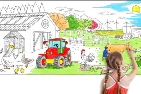 Fresque géante à colorier - La ferme - Support pré-dessiné – 10doigts.fr