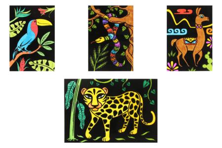 Cartes coloriages velours animaux - 8 cartes - Support pré-dessiné – 10doigts.fr