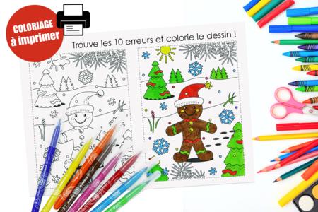Coloriage de Noël + jeu des 10 erreurs - Noël – 10doigts.fr