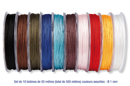 Cordons polyester queue de rat - 10 couleurs - Fils en Satin et queue de rat – 10doigts.fr