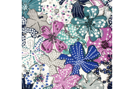 Coupon de tissu imprimé grandes fleurs tons bleus - 43 x 53 cm - Coupons de tissus – 10doigts.fr