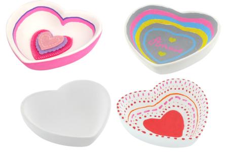 Coupelles coeur en terre cuite blanche - Lot de 4 - Supports en Céramique et Porcelaine – 10doigts.fr