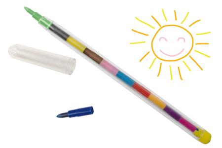Crayon pousse-mine multicolore - Crayons de couleurs – 10doigts.fr