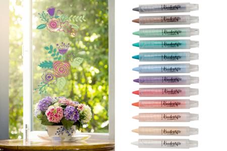 Crayons cire pour décoration des vitres - Set de 12 - Décoration des vitres – 10doigts.fr
