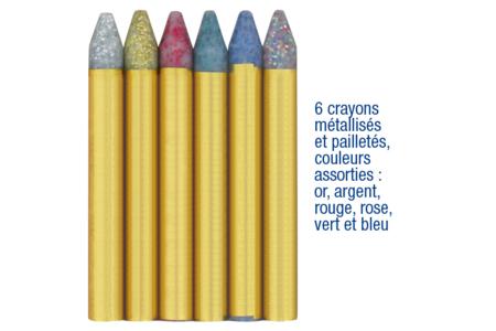 Crayons-cire paillettés pour maquillage - Set de 6 - Maquillage – 10doigts.fr