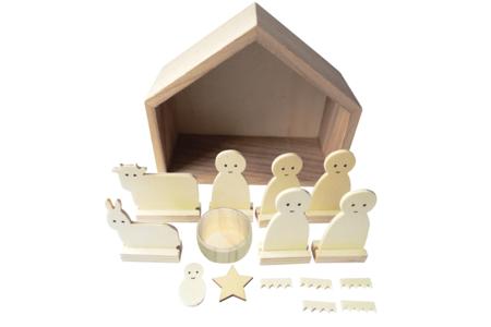 Crèche en bois - 13 pièces - Noël – 10doigts.fr