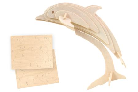 Dauphin 3D en bois naturel à monter - Animaux en bois à décorer – 10doigts.fr