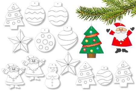 Suspensions de Noël à colorier - 13 formes - Coloriages – 10doigts.fr