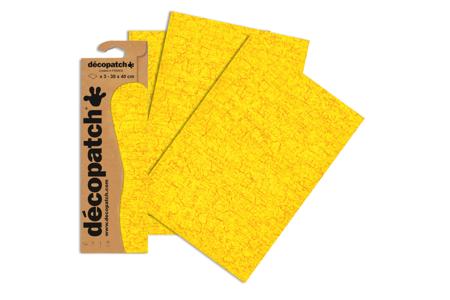 Papier Décopatch craquelures jaunes - 3 feuilles 587 - Papiers Décopatch – 10doigts.fr