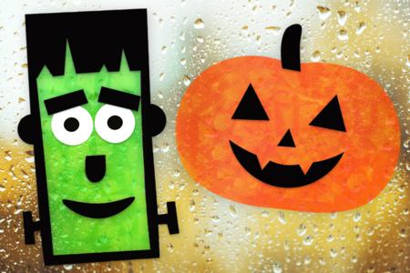 décoration fenêtres halloween citrouille monstre - Tête à Modeler