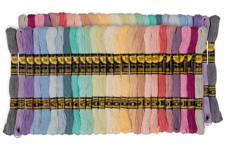 Échevettes de fils coton - couleurs pastels, lot de 52 - Fils – 10doigts.fr