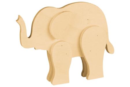 Éléphant en bois naturel - Animaux 3D – 10doigts.fr