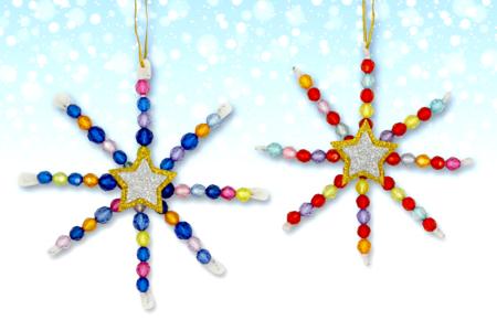 Kit fabrication suspensions Noël en perles - 12 flocons - Nouveautés – 10doigts.fr