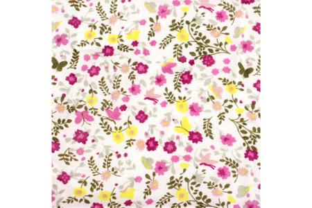 Coupon en coton imprimé : fleurs jaunes et mauves + fond blanc - Coton, lin – 10doigts.fr