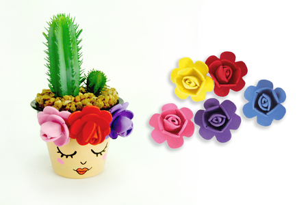 Fleurs mousse adhésive couleurs assorties - Set de 9 - Décorations à coller – 10doigts.fr