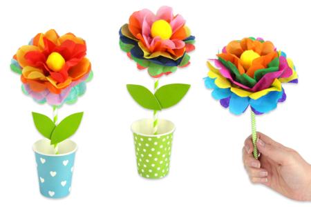 Kit création de fleurs en papier de soie - 12 réalisations - Kits créatifs prêt à l'emploi – 10doigts.fr