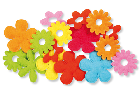 Fleurs en tissu gauffré - 16 pièces - Fleurs et feuilles – 10doigts.fr
