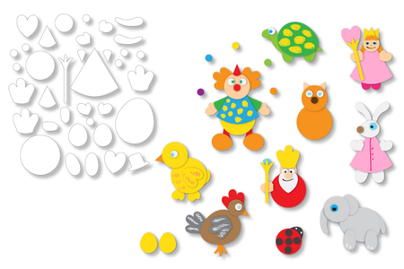 Formes prédécoupées pour créer des animaux ou des personnages - Set de 72 - Support pré-dessiné – 10doigts.fr