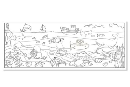 Fresque géante à colorier : La mer ou La savane - Coloriages – 10doigts.fr