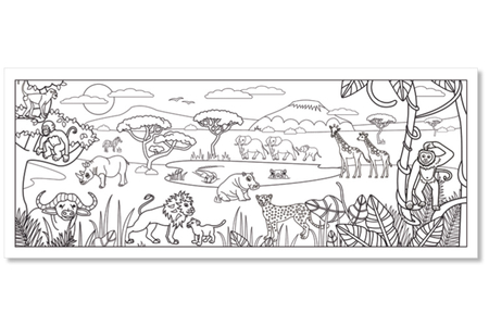 Fresque géante à colorier : Savane Africaine - Support pré-dessiné – 10doigts.fr