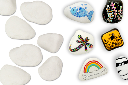 Galets en marbre blanc - 6 pièces - Galets et coquillages – 10doigts.fr