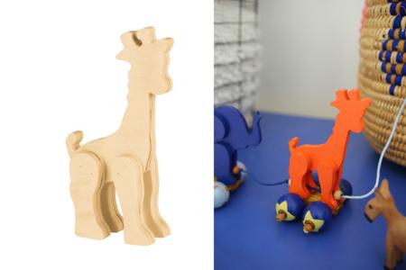 Girafe en bois naturel - Animaux 3D – 10doigts.fr