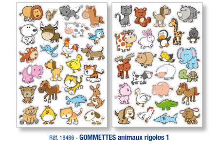 Gommettes animaux rigolos N°1 - Gommettes animaux – 10doigts.fr