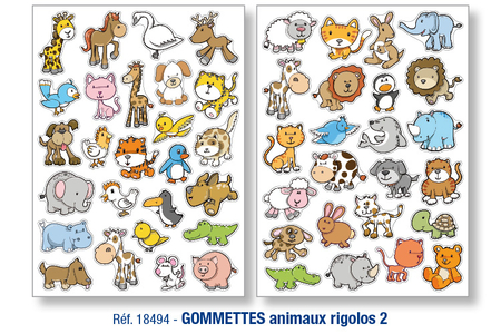 Gommettes animaux rigolos N° 2 - Gommettes animaux – 10doigts.fr