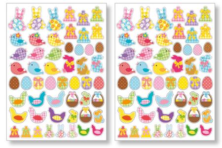Gommettes de Pâques Vichy - 2 planches - Décorations et accessoires de Pâques – 10doigts.fr
