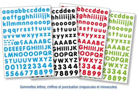 Gommettes lettres minuscules et majuscules, chiffres et ponctuation - Set de 532 - Gommettes fantaisie – 10doigts.fr