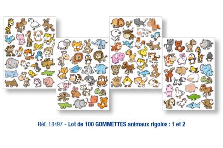 Lot de 100 gommettes animaux rigolos - Gommettes animaux – 10doigts.fr