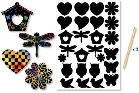 Stickers en carte à gratter thème Printemps - 26 pcs - Carte à gratter – 10doigts.fr