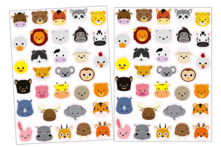 Gommettes tête d'animaux - 2 planches - Gommettes Animaux – 10doigts.fr