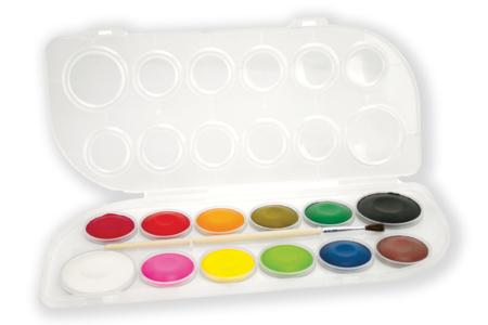 Gouache en pastilles - 12 couleurs - Gouaches d'écoliers – 10doigts.fr
