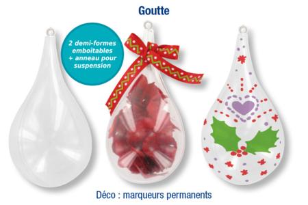 Goutte en plastique transparent à décorer - Décos de Noël à suspendre – 10doigts.fr