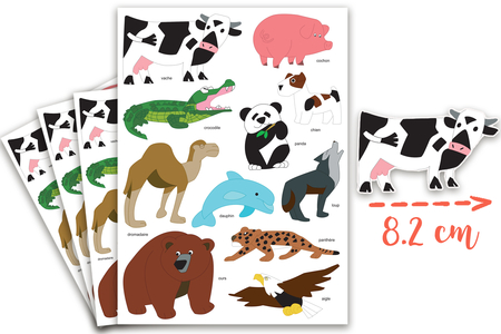 Maxi Gommettes animaux 4 - 4 Planches - Gommettes Animaux – 10doigts.fr