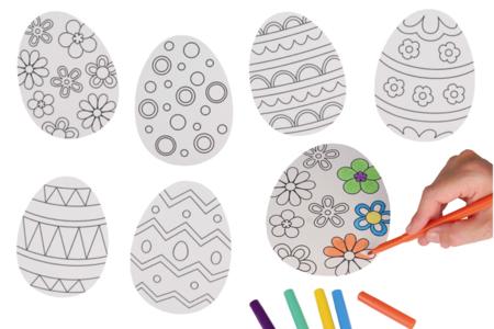 Grands œufs de Pâques à colorier - 6 pièces - Kits activités Pâques – 10doigts.fr