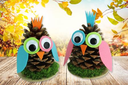hibou pomme de pin activité automne enfant - Tête à Modeler