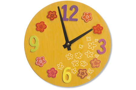 Horloge ronde avec chiffres et fleurs en relief - Horloges – 10doigts.fr